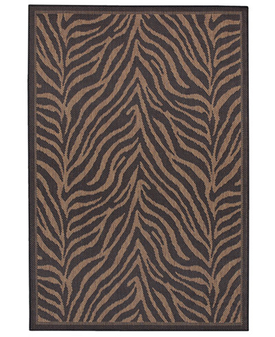 CLOSEOUT! Couristan Area Rug, Recife Indoor/Outdoor Zebra Black/Cocoa 5' 3