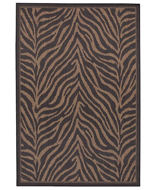 "Couristan CLOSEOUT! Recife Zebra Black/Cocoa 2'3"" x 11'9"" Indoor/Outdoor Runner"