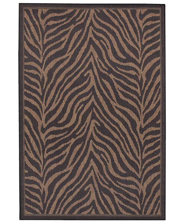 "Couristan CLOSEOUT! Recife Zebra Black/Cocoa 2' x 3'7"" Indoor/Outdoor Area Rug"
