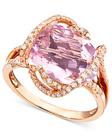 Gemma by EFFY Pink Amethyst (7-3/4 ct. t.w.) and Diamond (3/8 ct. t.w.) in 14k Rose Gold