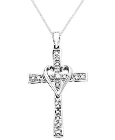 Cross Diamond Pendant Necklace in 14k Yellow or White Gold (1/10 ct. t.w.)