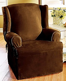 Soft Faux Suede Wing Chair Slipcover