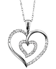 14k White Gold Pendant, Diamond (1/4 ct. t.w.)