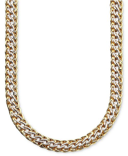 Macy's 14k Gold over Sterling Silver and Sterling Silver Necklace, Mesh