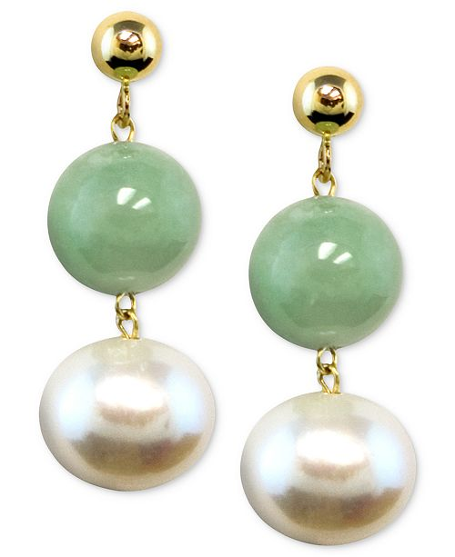 Macy's 14k Gold Earrings, Cultured Freshwater Pearl and Jade