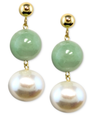 14k Gold Earrings, Cultured Freshwater Pearl and Jade