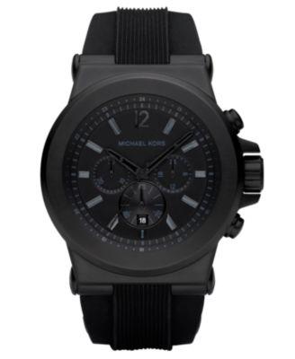 Michael Kors Men\u0026#39;s Dylan Black Silicone Strap Watch 45mm MK8152
