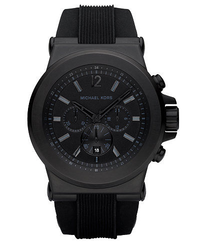 Michael Kors Men S Dylan Black Silicone Strap Watch 45mm