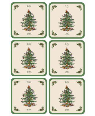 Coasters, Set of 6 Christmas Tree