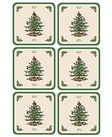 Christmas Tree Coasters, Set of 6