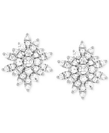 Wrapped In Love Diamond Starburst Stud Earrings (1 ct. t.w.) in 14k White Gold, Created for Macy's