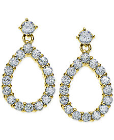 Giani Bernini Cubic Zirconia Open Teardrop Drop Earrings in 18k Gold-Plated Sterling Silver, Created for Macy's