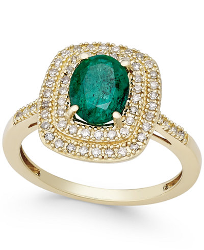 Emerald (1-1/10 ct. t.w.) and Diamond (1/3 ct. t.w.) Ring in 14k Gold