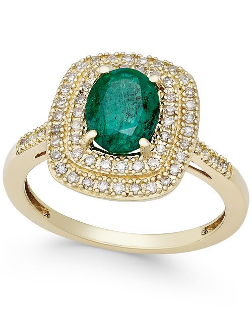 Macy's Emerald (1-1/10 ct. t.w.) and Diamond (1/3 ct. t.w.) Ring in 14k Gold