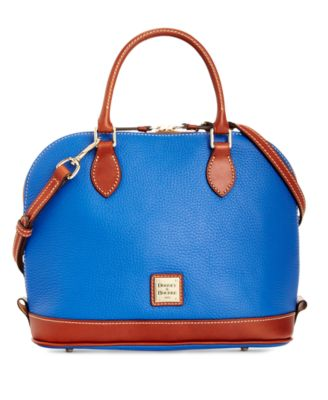 Pebble Leather Zip Top Satchel