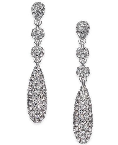 Danori Silver-Tone Pavé Crystal Drop Earrings, Created for Macy's