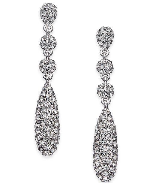 Eliot Danori Silver-Tone Pavé Crystal Drop Earrings, Created for Macy's