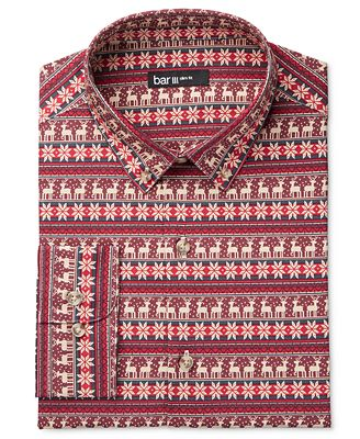Bar III Men's Slim-Fit Oh Deer! Print Dress Shirt, Created for ...