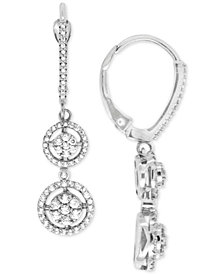 Diamond Double Cluster Drop Earrings (1/2 ct. t.w.) in 14k White Gold