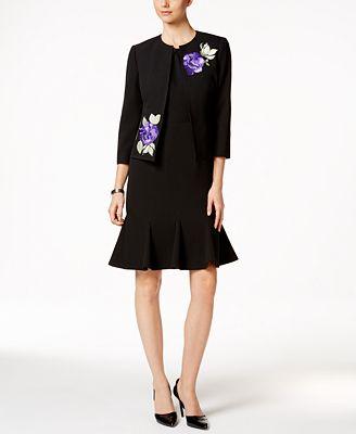 Kasper Embroidered Jacket & Flare-Hem Sheath Dress