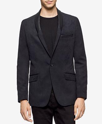 Calvin Klein Men's Slim-Fit Shawl-Lapel Faux Suede Blazer ...