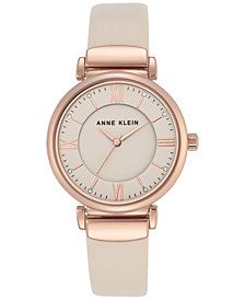 Anne Klein Women's Ivory Leather Strap Watch 36mm AK-2666RGIV