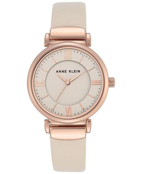Anne Klein Women's Ivory Leather Strap Watch 36mm AK-2666RGIV