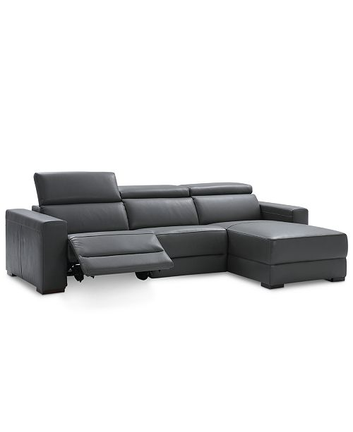 Nevio 3 Pc Leather Sectional Sofa With Chaise 1 Recliner And Articulating Headrests Created For Macy S