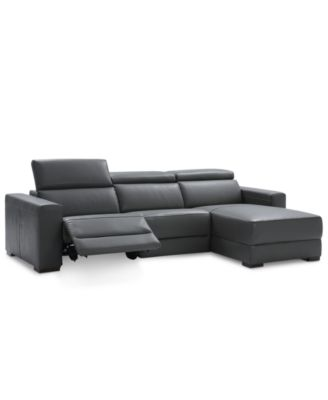 Delicieux Furniture Nevio 3 Pc Leather Sectional Sofa With Chaise, 1 Power Recliner  And Articulating Headrests, Created For Macyu0027s   Furniture   Macyu0027s