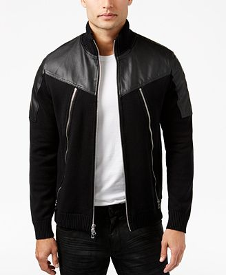 INC International Concepts Men's Mixed-Media Bomber Jacket, Created for Macy's