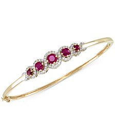 Certified Ruby (1-3/4 ct. t.w.) and Diamond (1/2 ct. t.w.) Bangle Bracelet in 14k Gold, Created for Macy's