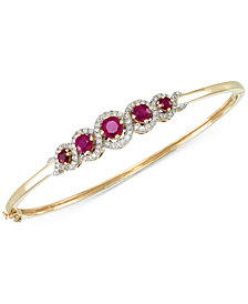 RARE Featuring GEMFIELDS Certified Ruby (1-3/4 ct. t.w.) and Diamond (1/2 ct. t.w.) Bangle Bracelet in 14k Gold, Created for Macy's