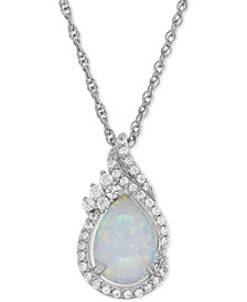 Lab-Created Opal (3/4 ct. t.w.) and White Sapphire (1/4 ct. t.w.) Teardrop Pendant Necklace in Sterling Silver