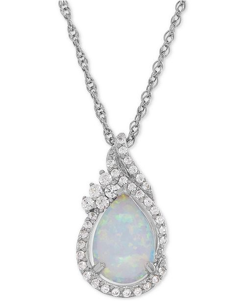 Macy's Lab-Created Opal (3/4 ct. t.w.) and White Sapphire (1/4 ct. t.w.) Teardrop Pendant Necklace in Sterling Silver