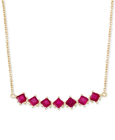 RARE Featuring GEMFIELDS Certified Ruby Fancy Statement Necklace (1-1/2 ct. t.w.) in 14k Gold