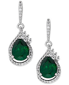 Lab-Created Emerald (2-3/4 ct. t.w.) and White Sapphire (1/2 ct. t.w.) Drop Earrings in Sterling Silver