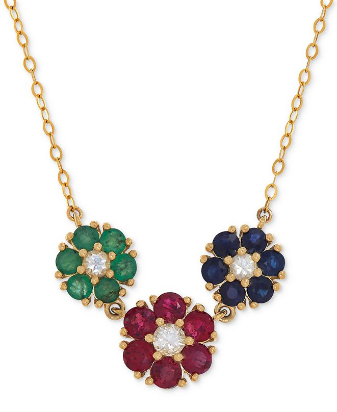 Macy's Multi-Gemstone (2-1/3 ct. t.w.) Necklace in 14k Gold