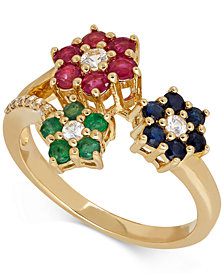 Multi-Gemstone (1-3/8 ct. t.w.) Floral Ring in 14k Gold
