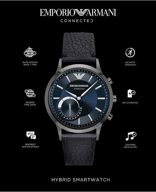 ... Emporio Armani Men s Black Leather Strap Hybrid Smart Watch 43mm  ART3004 ... 23b7f8e3976