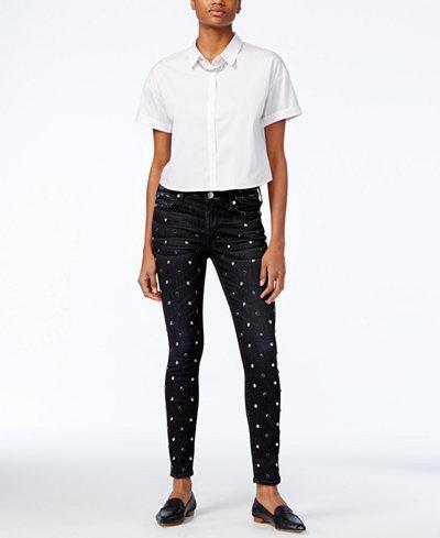 True Religion Halle Studded Black Wash Skinny Jeans
