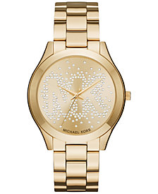 Michael Kors Women's Slim Runway Gold-Tone Stainless Steel Bracelet Watch 42mm MK3590