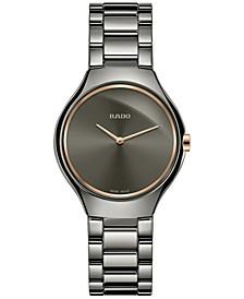 Women's Swiss True Thinline Gray Ceramic Bracelet Watch 30mm R27956132