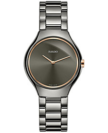 Rado Women's Swiss True Thinline Gray Ceramic Bracelet Watch 30mm R27956132