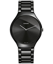 Rado Unisex Swiss True Thinline Black Ceramic Bracelet Watch 39mm R27741182