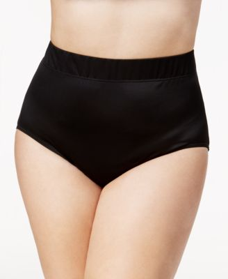 Plus Size High-Waist Tummy Control Swim Briefs