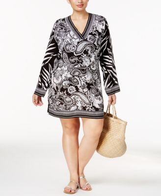 La Blanca Plus Size Sevilla Scarf-Print V-Neck Tunic Cover-Up