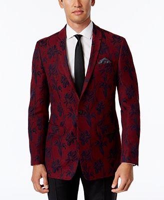 Tallia Men's Big & Tall Slim-Fit Red/Black Floral-Print Sport Coat ...
