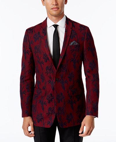 Tallia Men's Big & Tall Slim-Fit Red/Black Floral-Print Sport Coat