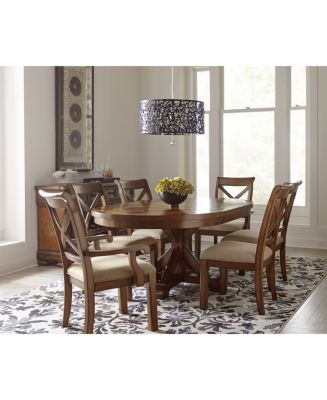 Closeout! Mandara Expandable Round Furniture, 7-Pc. Set (Round Dining Trestle Table & 6 X-Back Side Chairs)