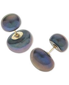 Dyed Black Cultured Freshwater Pearl (8 & 12mm) Front and Back Earrings in 14k Gold